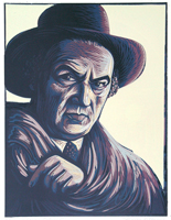 Federico fellini 1991 relief block print reduction print 17 x 13 in