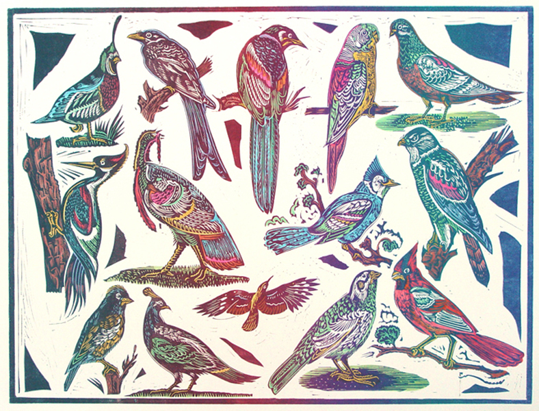 14 Birds Hand Colored 1991 Relief Block Print 1 B W 19 X 20 In Image 21 29 Paper Signed Pencil Artists Proof